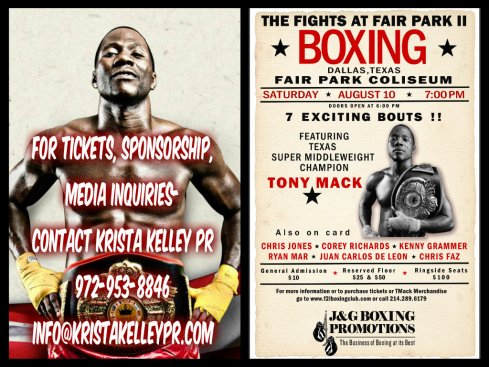 """Fights at Fair Park II"" Pro Boxer Tony Mack to fight Aug. 10 in Dallas, TX"